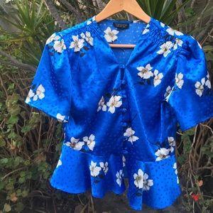 Blue satin blouse (Topshop)